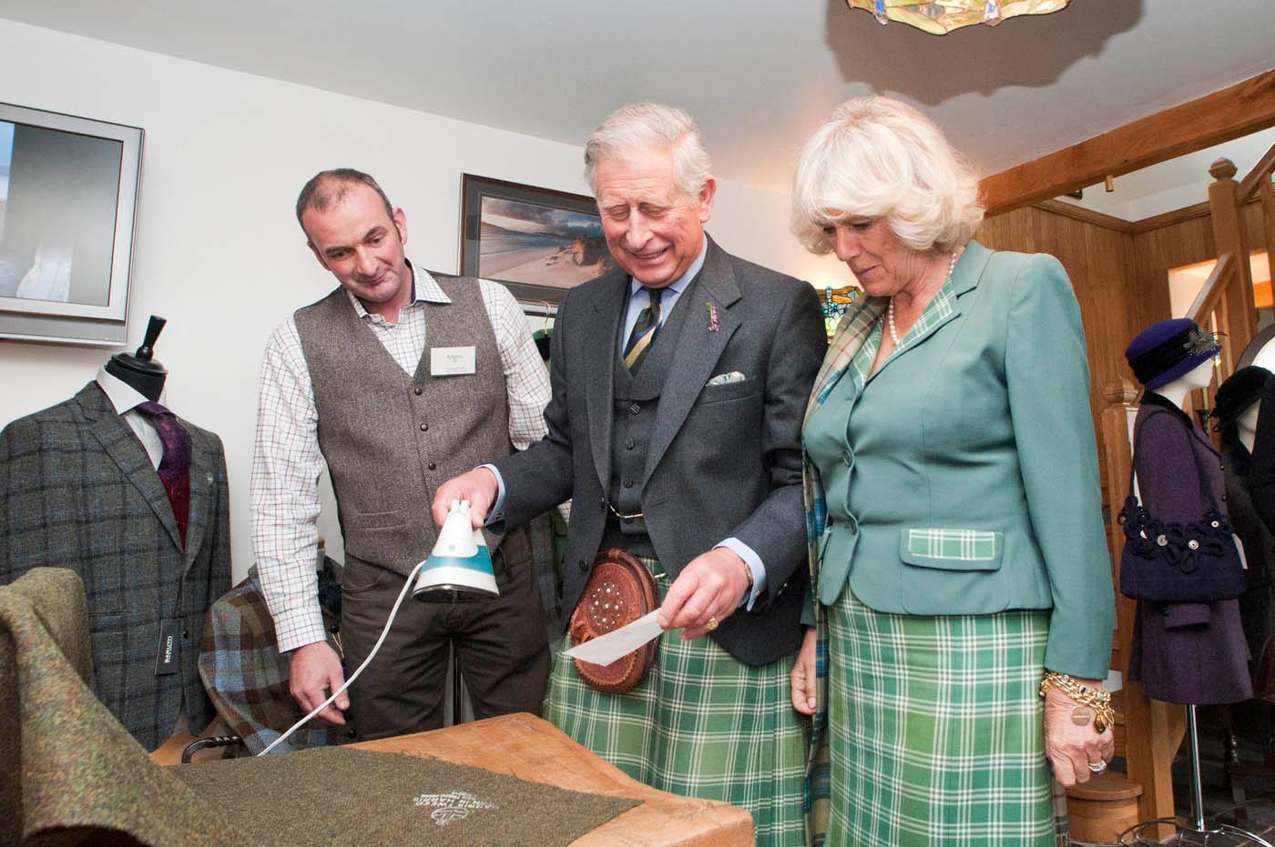 Prince Charles ironing Orb onto Harris Tweed