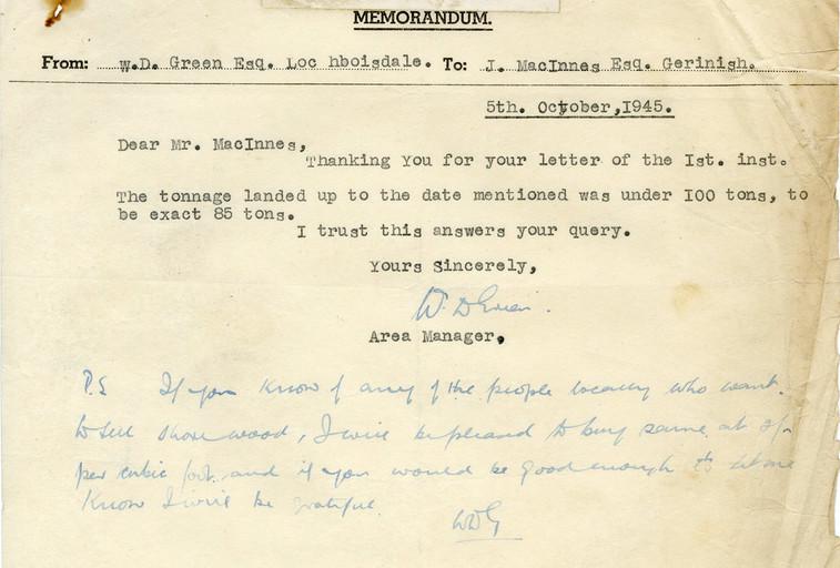 1945 memo from Alginate Industries Ltd