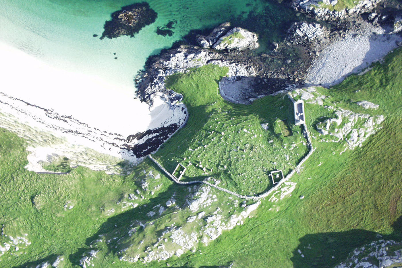 Aerial view of Teampull Mhicheal, Little Bernera