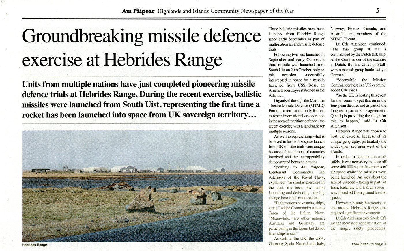 Ground Breaking Missile Defence exercise
