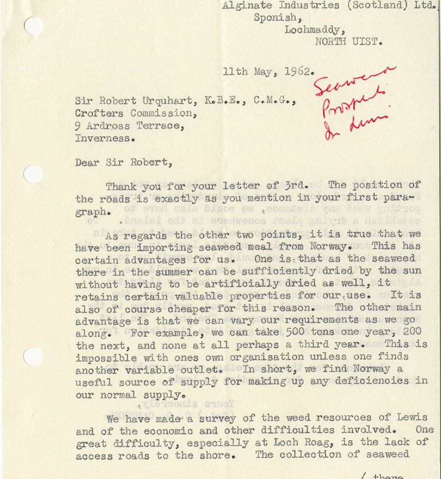 1962 Crofters Commission letter