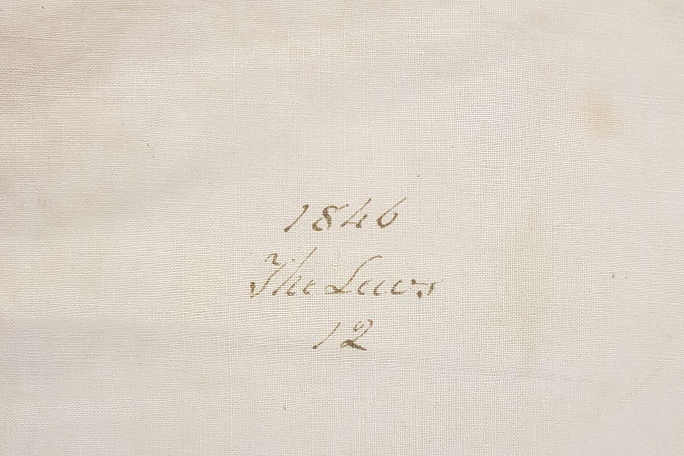 Linen pillowcase detail, 1846