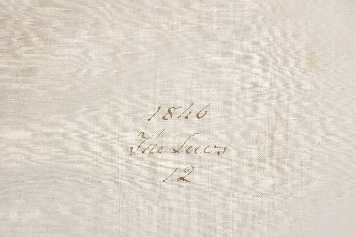 Linen pillowcase detail, 1846