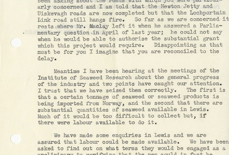 Letter to Alginate Industries from Crofters Commission about North Uist and Lewis, 1962