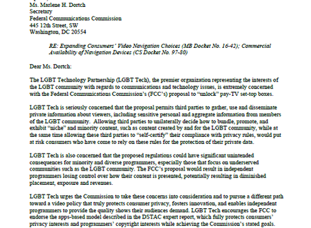 LGBT Tech – Voices Concern To The FCC on Proposed Regulations For Set-Top Boxes