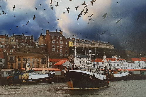 Whitby Fishing Boats & Gulls Card