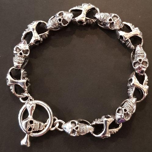 Chunky Skull Link Bracelet 925 Silver
