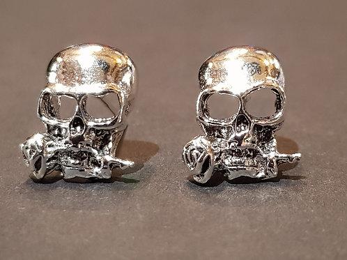 Large Skull & Rose Studs