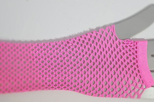 Fishnet Fingerless Gloves Long PINK