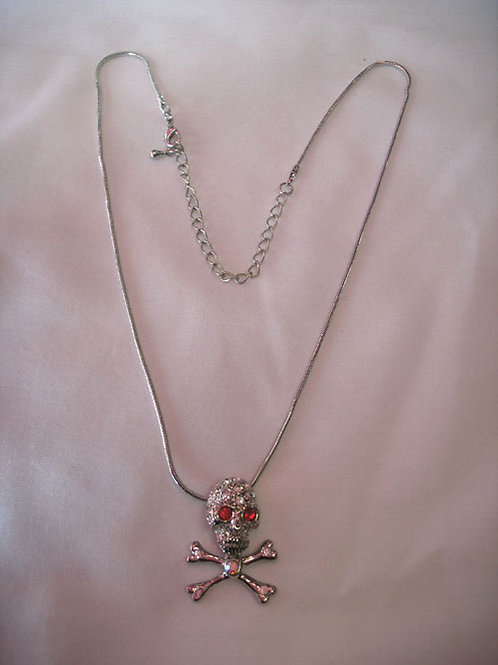 Skull & Cross Bones Necklace With Red Eyes