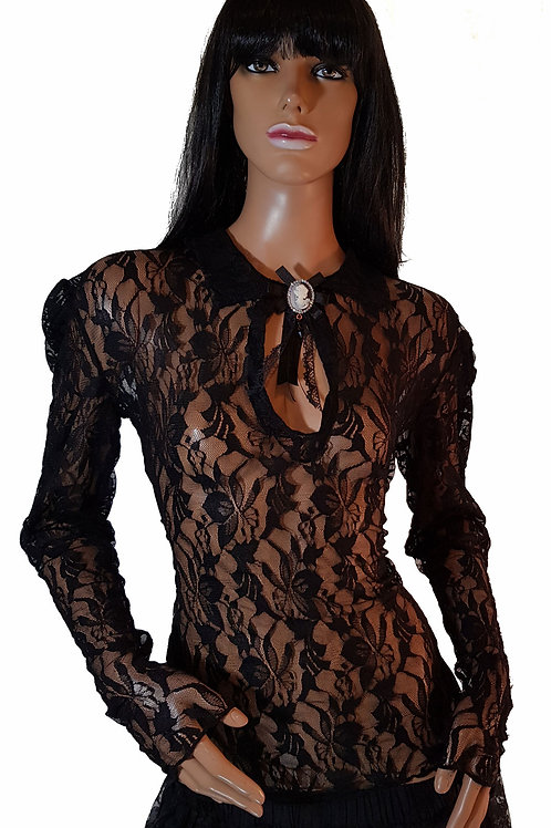 Elite Goth Cameo Lace Blouse (Large)