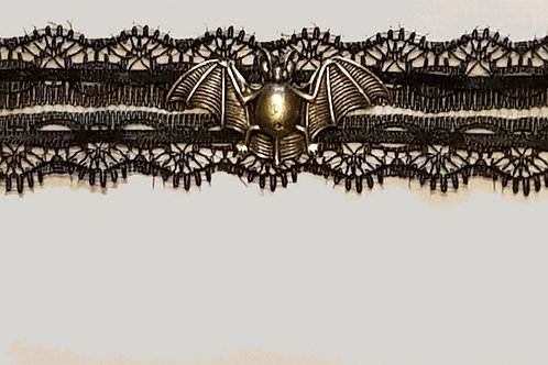 Lace And Dual Ribbon Choker with Pewter Bat