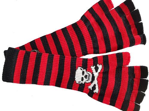 Stripe Long Skull Gloves Black And Red