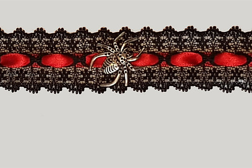 Lace And Red Ribbon Choker with Spider