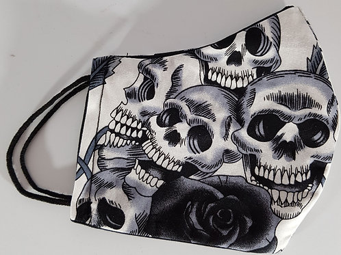 Lined Facemask Black And White Skull