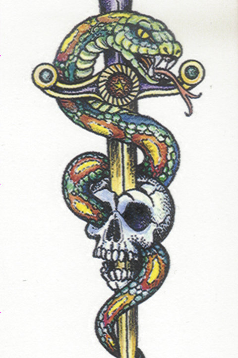 Dagger Snake Skull Armband Tattoo