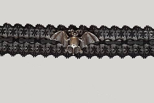Lace And Ribbon Choker with Pewter Bat