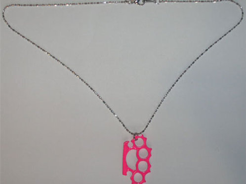 Knuckle Duster Necklace Pink