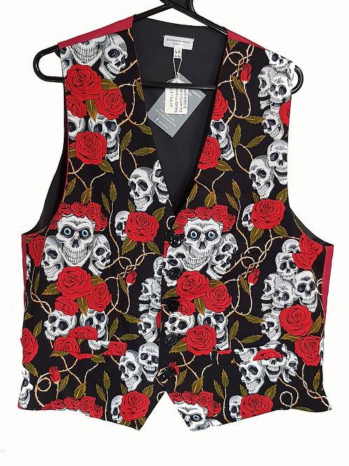 Hand Made Waistcoat Skulls And Roses