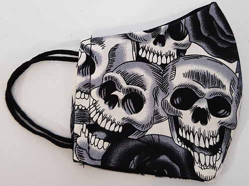 Lined Facemask Black And White Skull (Children's /Small Adult)