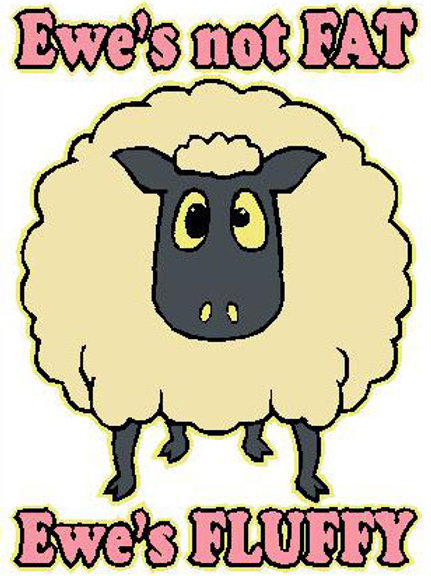 SH15 Ewe's Not Fat,Ewe's Fluffy Window Sticker
