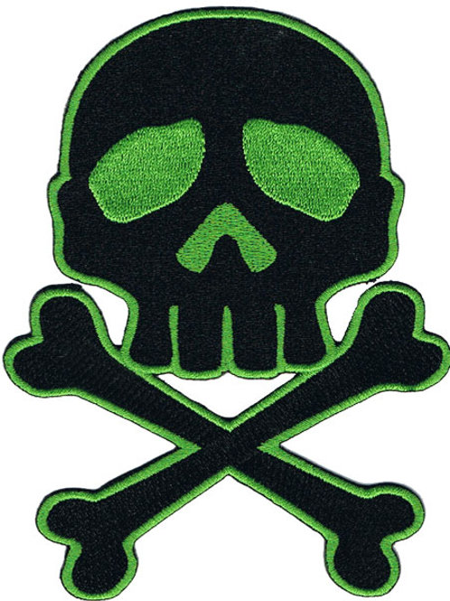 Skull & Crossbones Large Patch Green