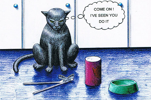 Devil Cat Greeting Card.....Come On! I've Seen You Do It
