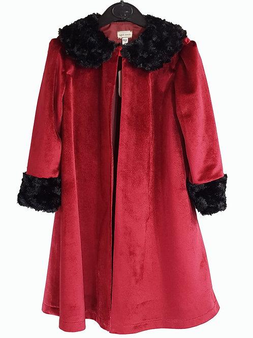 Childs Cape/Coat Red Velvet With Black Trim