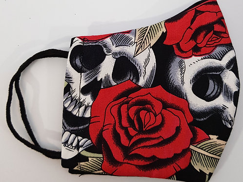 Lined Facemask Skulls And Roses (Children's /Small Adult)