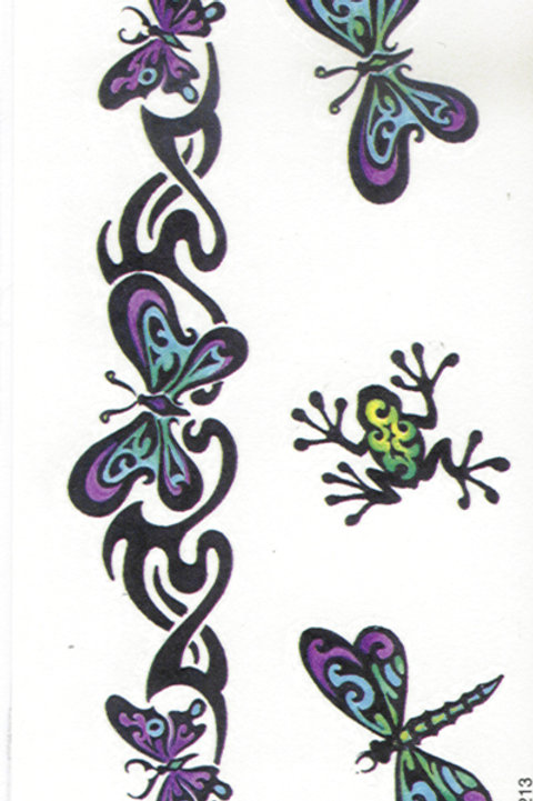 Butterfly's and Frog Armband Tattoo