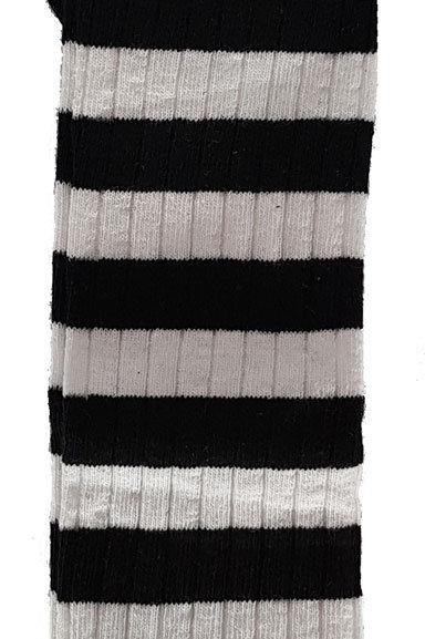 Over The Knee Socks Black And White Ribbed