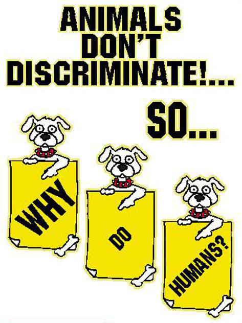 USR22 Animals Don't Discriminate! Window Sticker