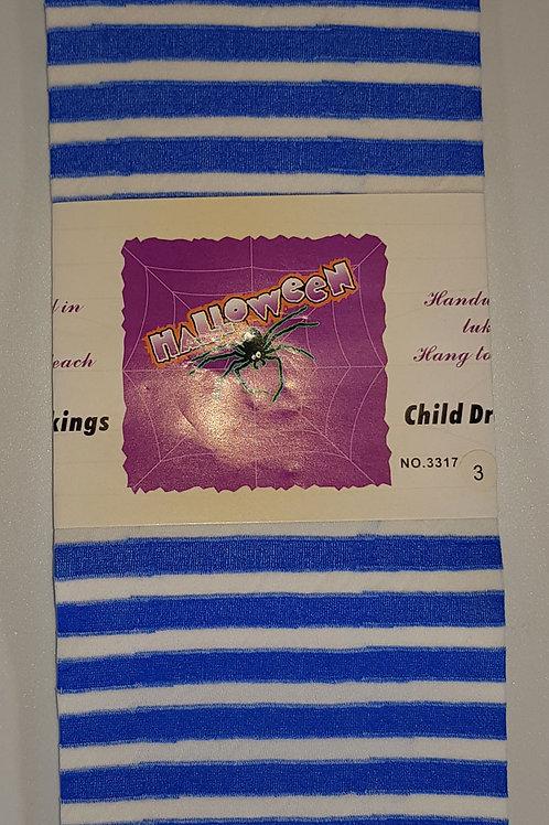 Childrens Blue & White Striped Stockings