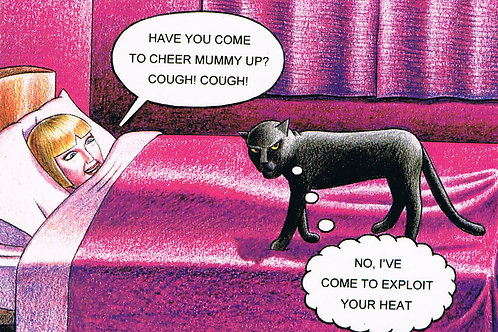 Devil Cat Greeting Card....Have You Come To Cheer Mummy Up?