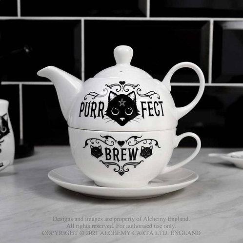 Tea For One Purrfect Brew Tea Pot Set