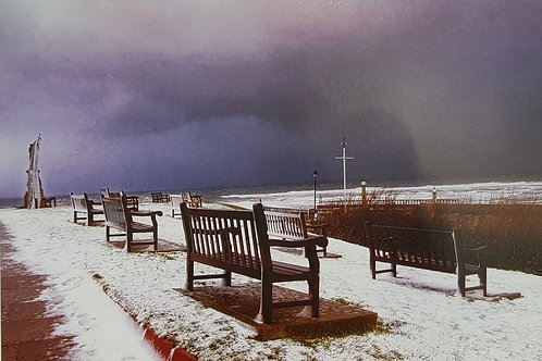 Whitby Benches In Snow Card