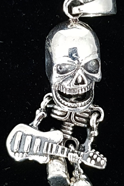 Skeleton Playing Guitar Pendant 925 Silver