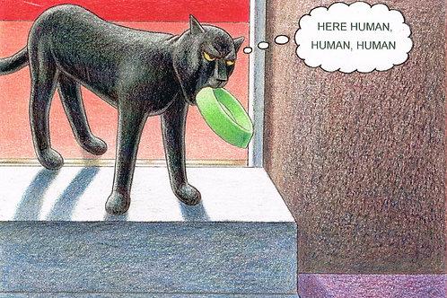 Devil Cat Greeting Card...Here Human