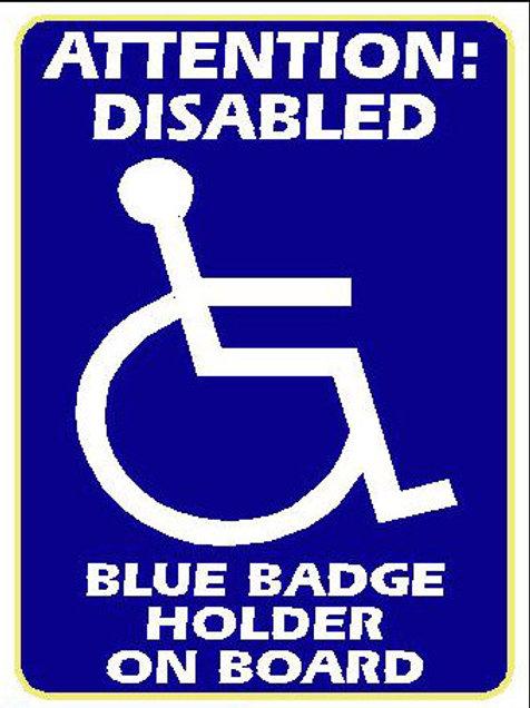 USR21 Attention: Disabled Blue Badge Holder On Board Window Sticker