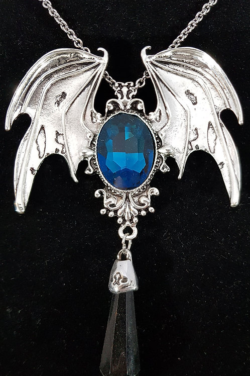 Batwing Necklace Blue Cabuchon