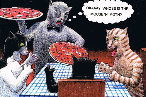 Devil Cat Greeting Card....Okaaay,Whose Is The Mouse 'n' Moth?