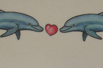 2  Dolphins Heart Armband Tattoo