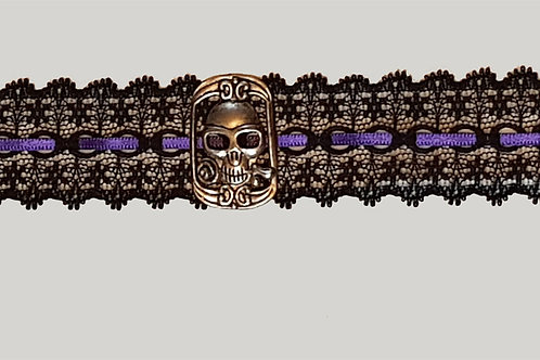 Lace And Purple Ribbon Choker with Cartouche Skull