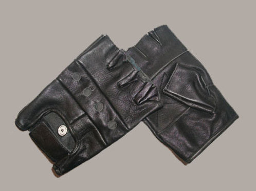 Plain Leather Fingerless Gloves M