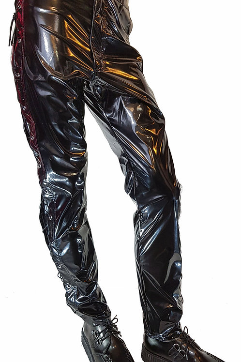"Gloss PVC Eyelet Jeans Black (size 34"")"