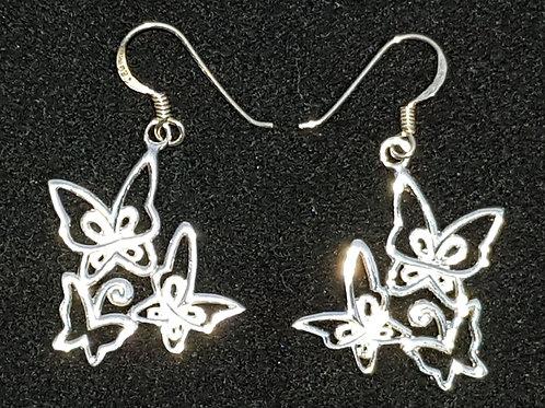 3 Butterfly Drop Earrings
