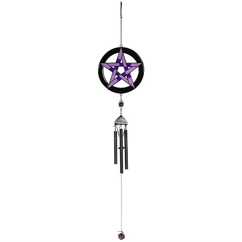 Purple Pentagram Wind Chime