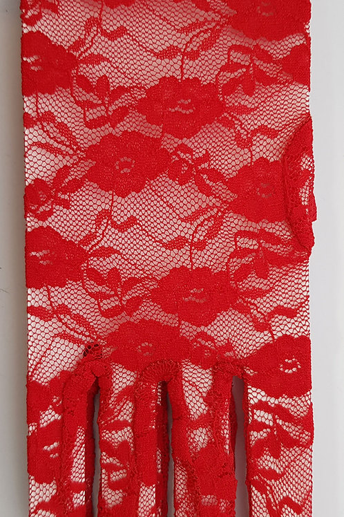 Short Lace Gloves Red