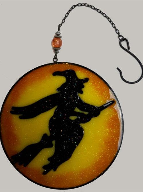 Light Catcher Witch On Broom Round