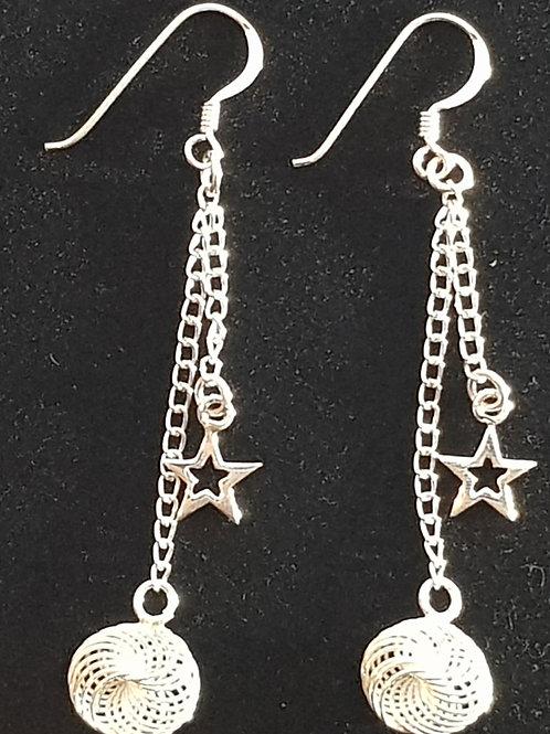 Star & Twisted Loop  Drop Earrings